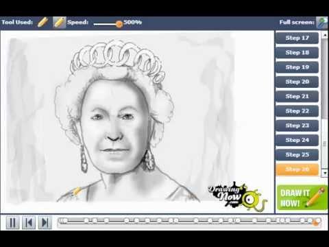 how to draw queen elizabeth i