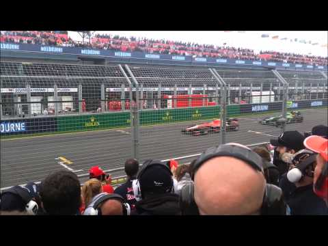 F1 - A sound comparison between 2013 and 2014 F1 cars on the pit straight at Albert Park as they complete the first lap. Combustion engines: 2013 - 2.4L V8 2014 -...