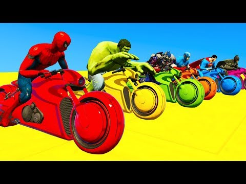 LEARN COLORS Motor Bikes & Motorcycles Jump for kids w/ Cars Spiderman Cartoon for children