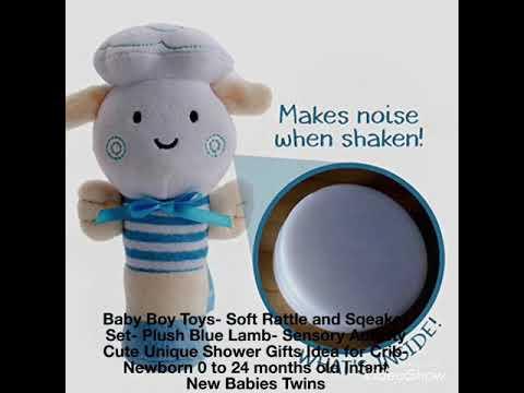 Baby Boy Toys- Soft Rattle and Sqeaker Set- Plush Blue Lamb- Sensory Activity Cute Unique