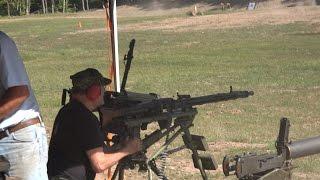 Full Auto fun; Mg-42, M-16, MP 40, Maxim, ak-47, AR-15, Barrett, etc... shooting at explosive targets at the Stone Mountain Machine Gun Shoot. Labor Day weekend 2016