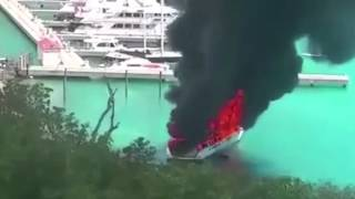 Video shows luxury yacht going up in flames