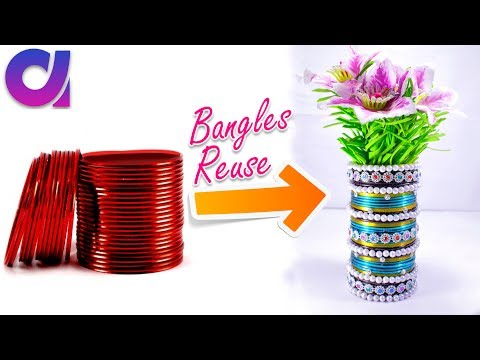 How to make flower vase from old waste bangles | Best out of waste | DIY | Artkala 200