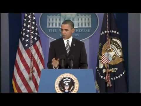 President Barack Obama destroys microphones and flattens podium.