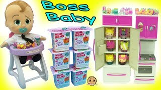 Feeding The Boss Baby In High Chair Surprise Blind Bags Shopkins + Num Noms