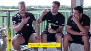 Watch Saracens trio Jamie George, Duncan Taylor and Jackson Wray take part in a gruelling interview by one of Aviva's next generation of ultimate mini fans! As part of the celebrations of Aviva's seven years of title sponsorship, they will be giving away two season tickets to one lucky Saracens Rugby fan for next season. Simply register here for your chance to win: bit.ly/2qbEiya (T&Cs apply)