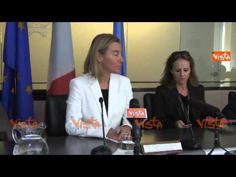 NY Mogherini immagini Conferenza Stampa bilancio missione italiana a vertice Onu