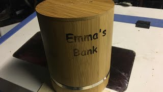 Laser engraved bamboo piggy bank