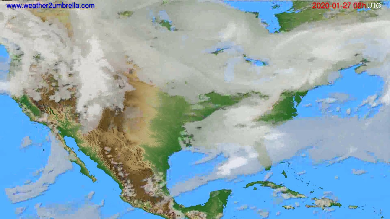 Cloud forecast USA & Canada // modelrun: 12h UTC 2020-01-26