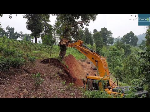 Hyundai Excavator-Clear Work-Cutting Hill-Felling Tree-Hilly Road Construction