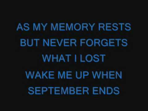Green Day-Wake Me Up When September Ends lyrics