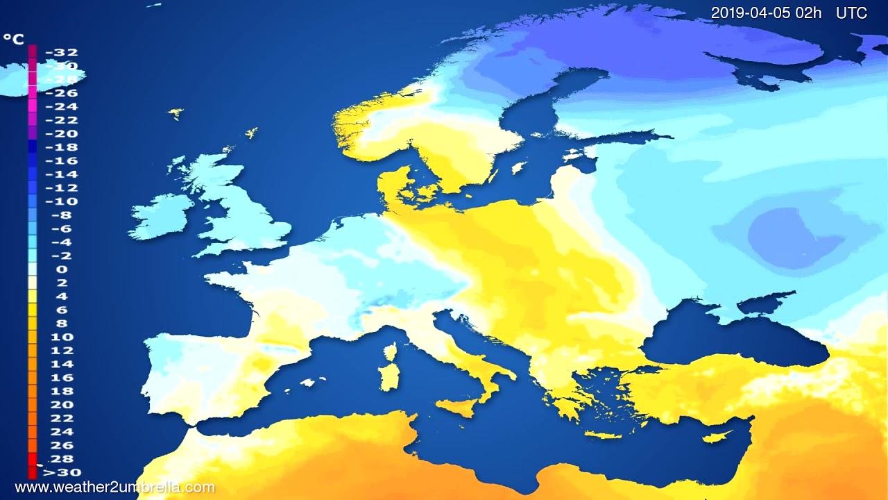 Temperature forecast Europe // modelrun: 00h UTC 2019-04-03