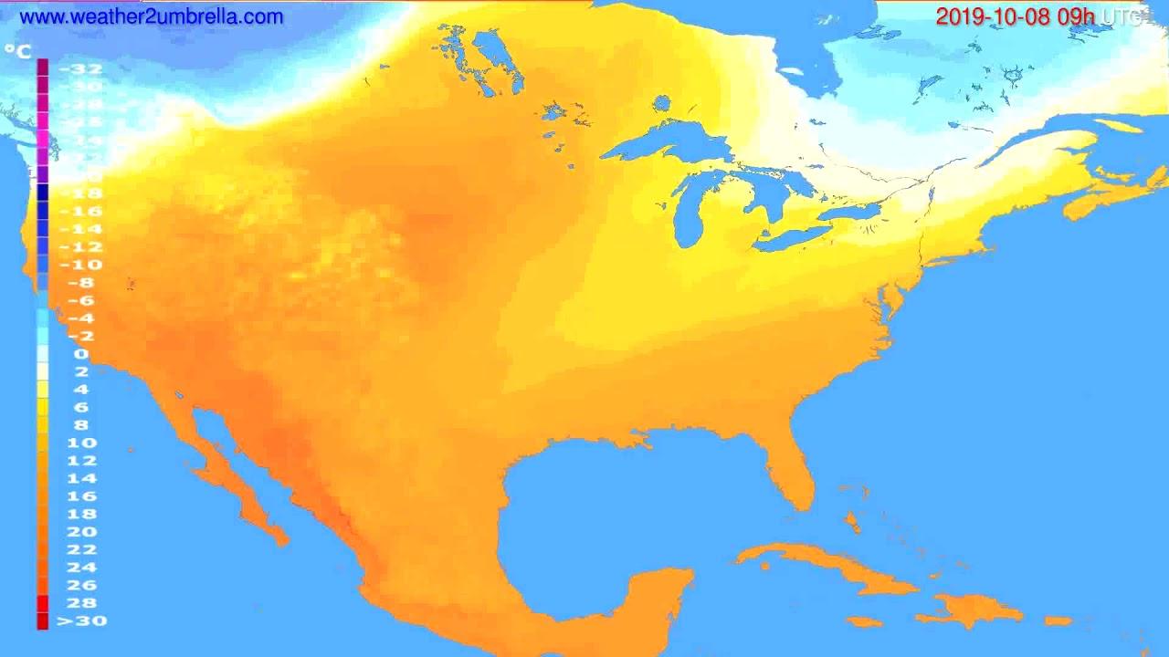 Temperature forecast USA & Canada // modelrun: 12h UTC 2019-10-06