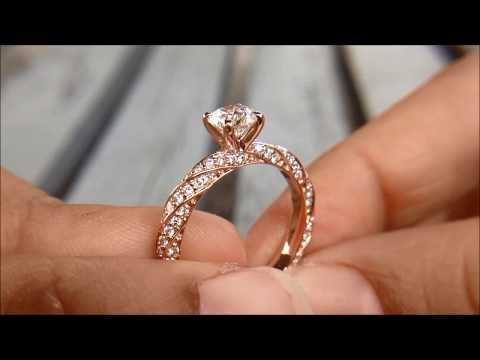 GIA 1.15 carat Solitaire Metal and Pavé Diamonds Twist Engagement Ring Set in 18K Rose Gold