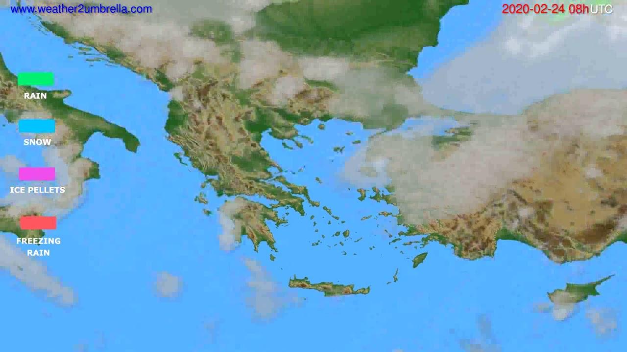 Precipitation forecast Greece // modelrun: 12h UTC 2020-02-23