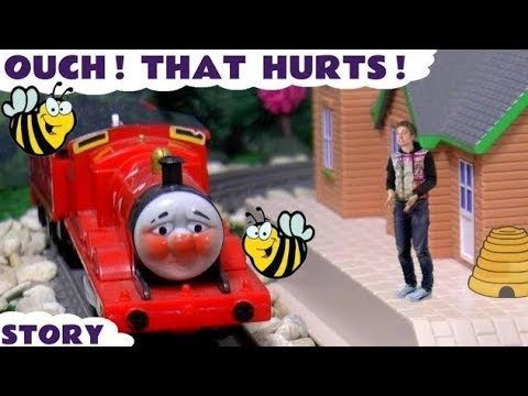 Thomas and Friends James Buzz Buzz toy trains story with a Fireman Sam rescue