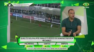 O comentarista arriscou o placar do clássico deste domingo (19) entre Santos e Palmeiras na Vila Belmiro, válido pela nona rodada do Paulistão.