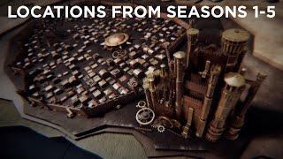 Check out my Season 6 update: https://youtu.be/FkFBeRnISdcI compiled all the locations shown in title sequence, in order of their first appearance on the show.Order1. King's Landing2. Winterfell (Stark)3. The Wall4. Pentos5. Vaes Dothrak6. The Eyrie7. The Twins8. Dragonstone9. Pyke10. Harrenhal11. Qarth12. Winterfell (sacked)13. Astapor14. Riverrun15. Yunkai16. Dreadfort17. Meereen18. Moat Cailin19. Braavos20. Winterfell (Bolton)21. Dorne