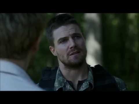 Oliver queen helps John Constantine at Lian Yu island scene