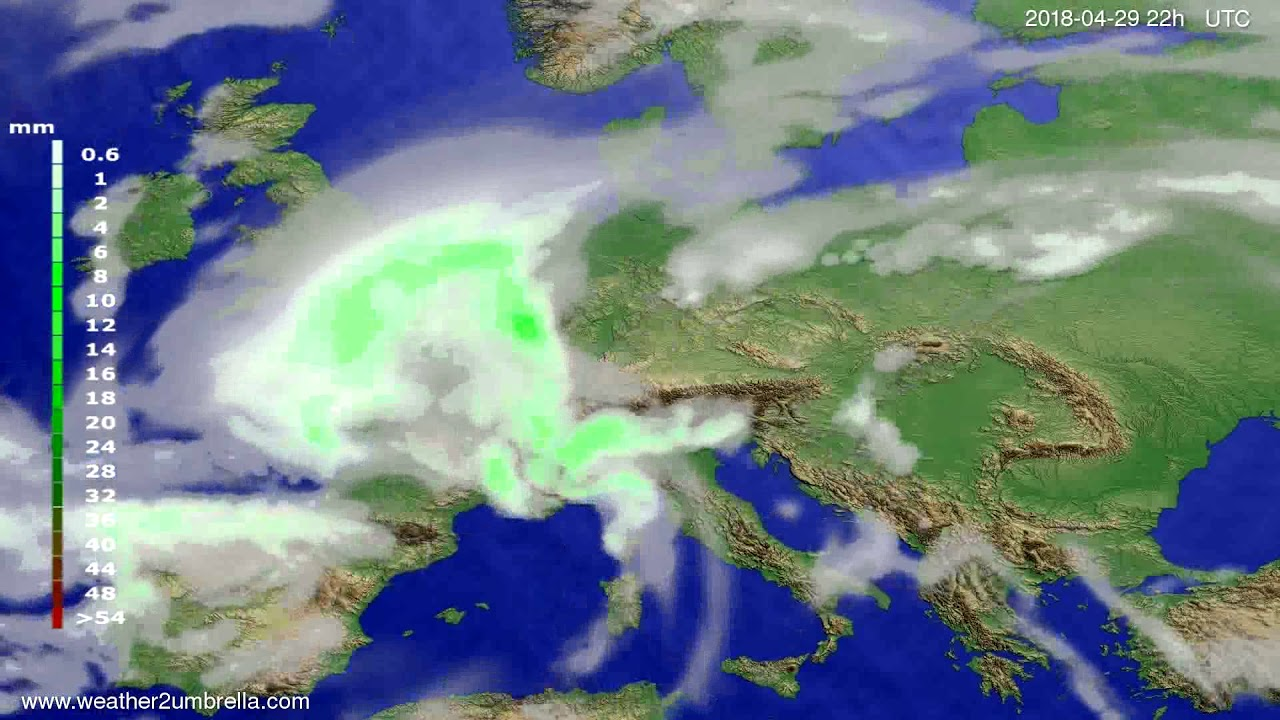 Precipitation forecast Europe 2018-04-27