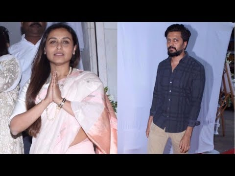 Riteish Deshmukh At Prayer Meeting Of Ram Mukherjee | Rani Mukerji's DAD |