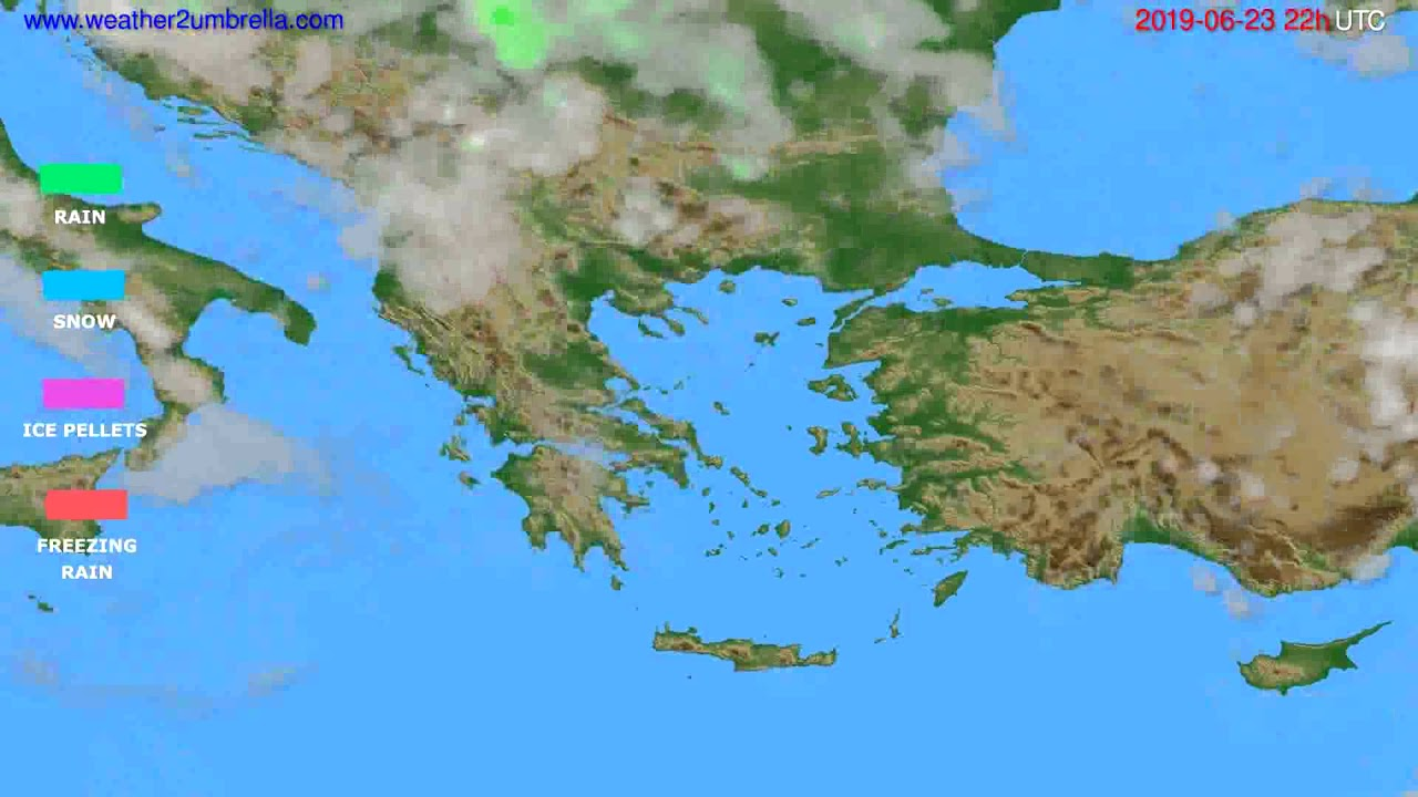 Precipitation forecast Greece // modelrun: 00h UTC 2019-06-21