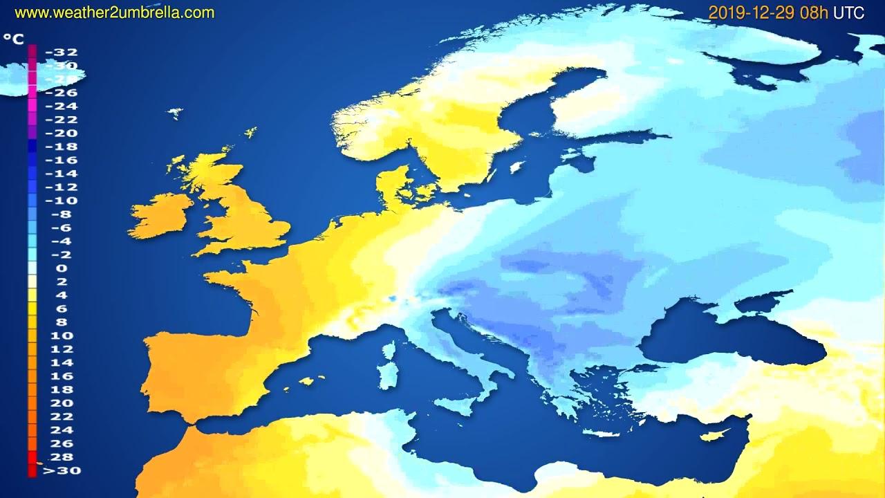 Temperature forecast Europe // modelrun: 12h UTC 2019-12-28