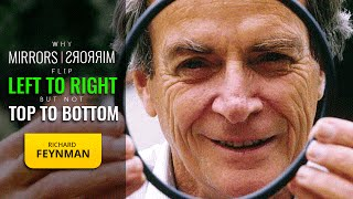 Richard Feynman amuses himself with an old puzzle - why do mirrors seem to switch left and right, but not top and bottom? From the BBC TV series 'Fun To Imagine' (1983). You can watch higher quality versions of some of these episodes at www.bbc.co.uk/archive/feynman/ or at https://www.youtube.com/watch?v=4zZbX_9ru9U