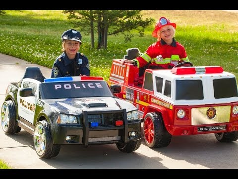 Power Wheels Race – Policeman vs Fireman!