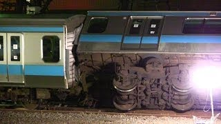 JR 京浜東北線脱線転覆事故現場 川崎駅 E233系ウラ177編成 2014.2.23 Japan Railway Derailment Accident