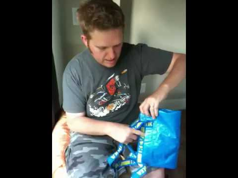 How to fold a reusable IKEA blue bag