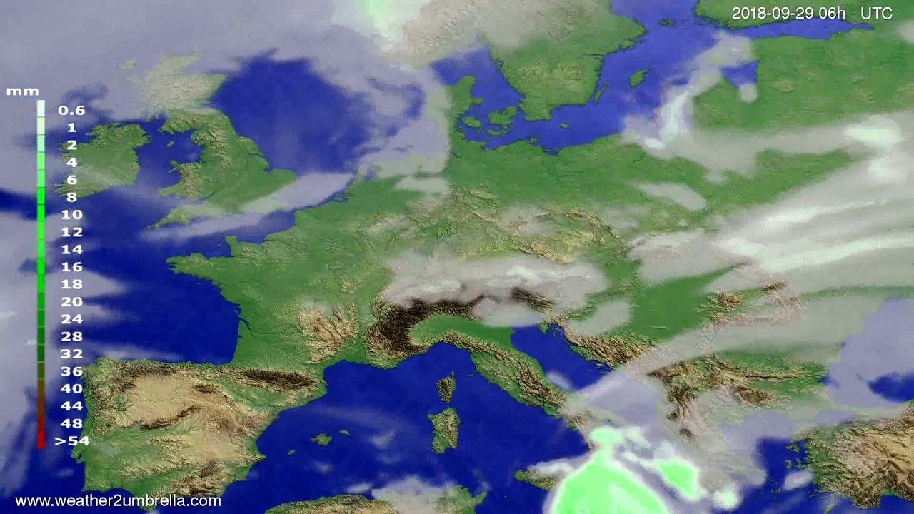 Precipitation forecast Europe 2018-09-25