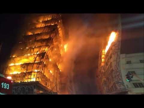 Incendio y Derrumbe de edificio en San Pablo, Brasil (видео)