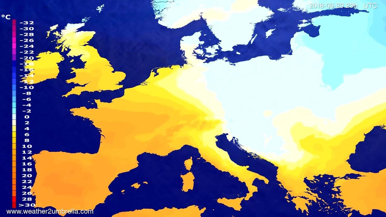Temperature forecast Europe 2018-09-26