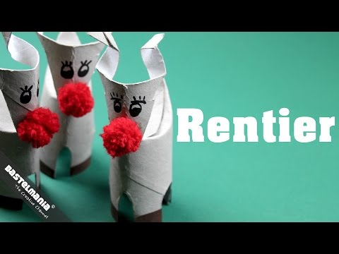 Anleitung Rentier Basteln Papprolle mit Bommel Nase DIY Craft Instruction Reindeer With Pompom Nose