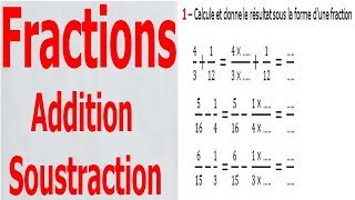 Maths 6ème - Fractions addition et soustraction Exercice 4