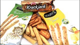 Snackinwolrd trying the karckjack biscuit from India which has a sweet salty savoury flavour and the snatt's breadstick with two flavours. One is the sunflower seed flavoured bread stick and other is snatts cheese flavoured bread sticks