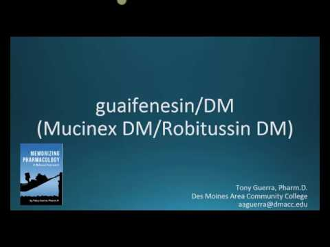 How to pronounce guaifenesin DM (Mucinex DM, Robitussin DM) (Memorizing Pharmacology Flashcard)