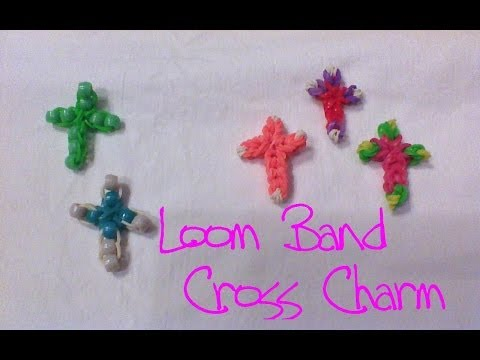 Loom Rubber Band Cross Charm made without the Rainbow Loom
