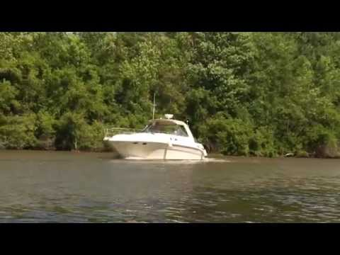 Yacht passing on the Erie Canal, Mohawk River, Ilion NY Marina