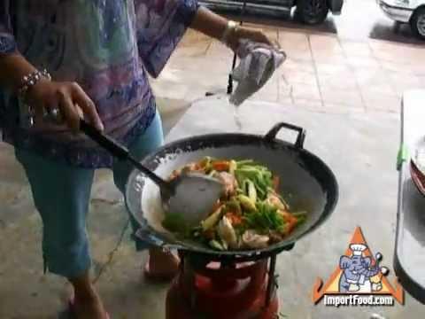 Thai Street Vendor Stir Fry Fresh Vegetables and Seafood