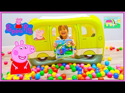 Funny Surprise Toys Hunt in Big Inflatable Peppa Pig Ball Pit Car with Colored Balls   Kids Video (видео)