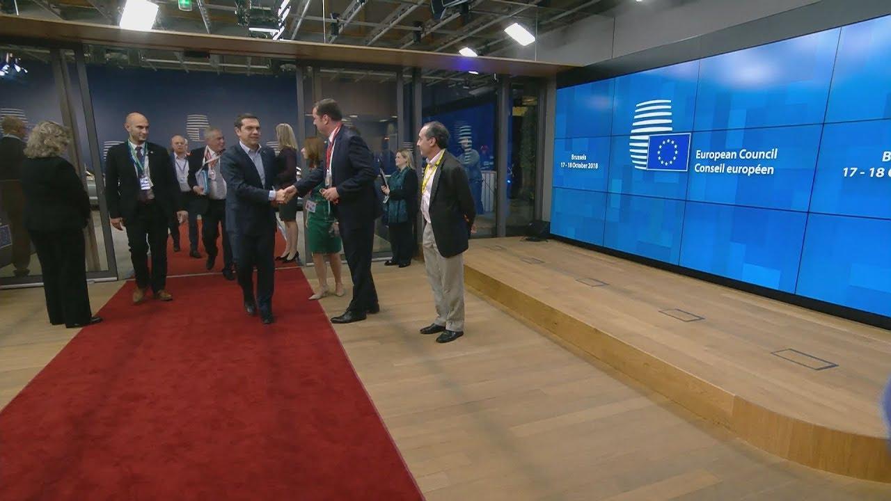 Άφιξη του πρωθυπουργού  Αλέξη Τσίπρα στη σύνοδο του  Ευρωπαϊκού Συμβουλίου