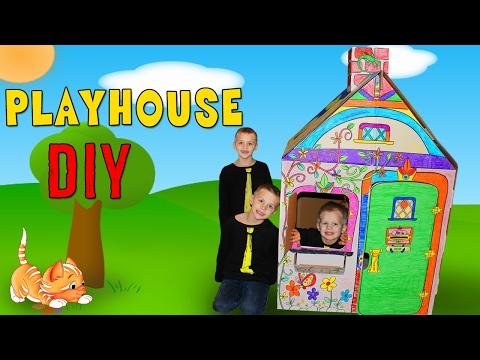 , title : 'Kids DIY Cardboard Box House Playtime'