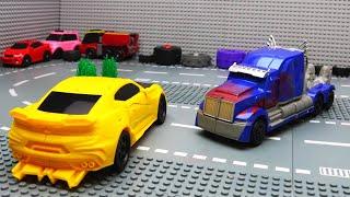 Lego Prison Break & Police Transformers Bumblebee vs Optimus Prime