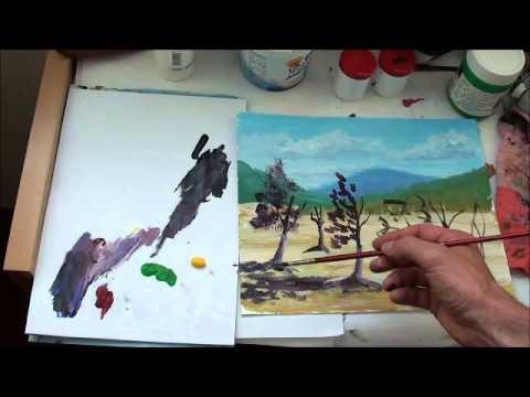 Malen mit Acrylfarben: Bäume (Teil 1/2)