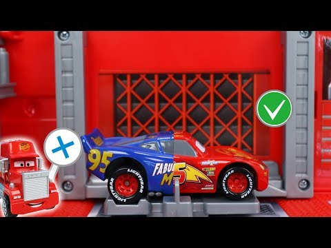 Let's Go Cars Mack Truck on Wrong Different Lightning McQueen Combination