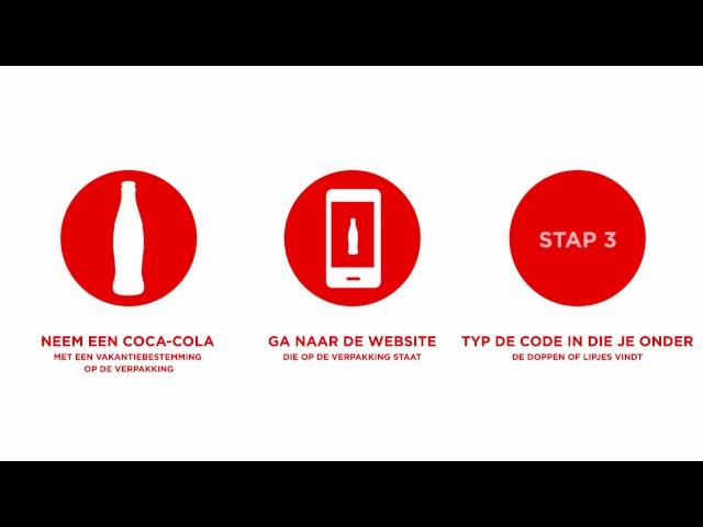 Ga naar de dichtstbijzijnde winkel en koop een Coca-Cola met jouw favoriete bestemming op het label. Ga naar de aangegeven wesbite , check daar de code onder jouw dop of lipje en maak elke week kans op jouw droomvakantie!