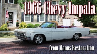 "This is the final video of the 1966 Chevrolet Impala convertible, from Manns Restoration in Festus, MO.  This car still retains it's stock appearance, but has been upgraded substantially for better performance and reliability.  It's powered by a 6.2 Liter Don Hardy LS V8, topped with Holley EFI.  It's backed by a 4L65E automatic with overdrive, so it cruises very well down the highway.  It also has Ridetech suspension, Wilwood disc brakes,  Billet Specialties wheels, and Vintage Air.  It has been fully restored from front to back, by the talented crew at Manns Restoration.  We hope you find it interesting, thanks for taking a look!For more on Manns Restoration and their current or past projects, please check out their website at:  http://mannsrestoration.com/Restoration/Default.aspxThe background track is ""Through the Valley"", by Shawn James.  The audio track was provided by our friends at Media Outlaws.  This video is not monetized, nor do we claim any rights to the music contained within."