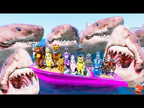 Watch 1000+ Megalodon Army Eats All the Animatronics Alive! (GTA 5 Mods FNAF RedHatter)